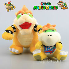 2X Super Mario 10'' Bowser Koopa & 7'' Bowser Jr. Plush Toy Soft Doll Teddy NWT
