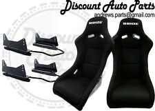 BRIDE ZETA 2 in BLACK Low Max PAIR Bucket Seats DRIFT RACE + Long mount sliders