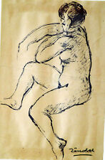 Pierre ZÉNOBEL (1905-1996) Dessin NU 1978/1980 Ecole de Paris Art Déco Fauvisme