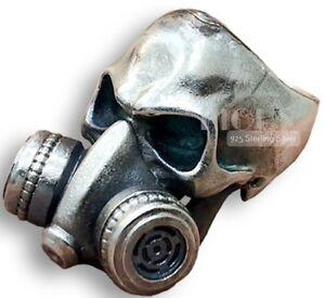Gothic Gas Mask Respirator Skull Biker Rider 925 Silver Ring Heavy big size 11