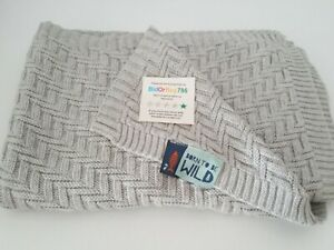 My 1st years Baby Blanket Knitted 100% Cotton Grey Blanket 100cm x70cm