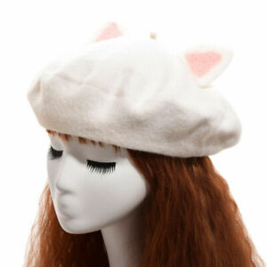Mori Girl Kawaii White Cat Ear Beret Cap Painter Hat Lolita Girls Beanie