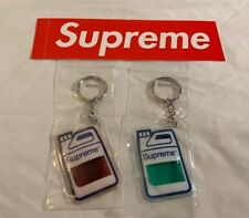 SUPREME JUG KEYCHAIN RED & GREEN SET OF 2 FW19, IN HAND & SUPREME BOGO STICKER