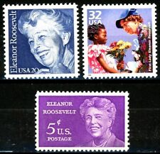 Eleanor Roosevelt Complete Set All of 3 MNH Stamps Scott's 1341 2105 & 3185d