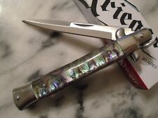 Kriegar German Style Imitation Abalone Stiletto Dagger Pocket Knife 440 KG189