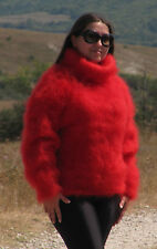 MOHAIR Hand Knitted RED Sweater Turtleneck Fuzzy Pullover Jumper Unisex Fluffy