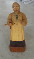 "Vintage 1950s Anri Wood Pediatrician Doctor Bald Man Figurine 6 3/4"" Tall"