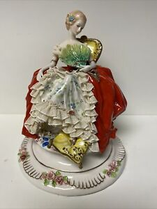 Capodimonte Rare Lady With Fan Figurine By Giuseppe Cappe