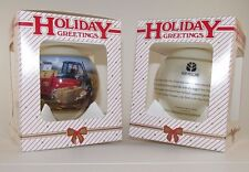 (2) New Holland Tractor Collectible Ornaments 560 Baler Santa 10th Series 2001