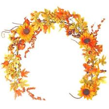 Artificial Maple Leaf Garland With Berries and Sunflowers 5ft - Winter Decorati