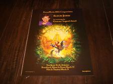 ROAD TO EL DORADO Grammy ad with Elton John for Grammy Legend Award, DreamWorks