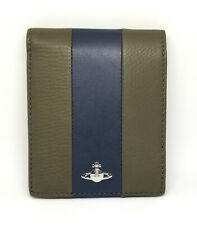 Authentic Vivienne Westwood Wallet Folded Khaki Navy Leather
