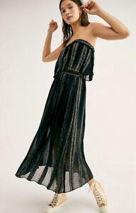 Free People Maxi Skirt Set Chiffon Metallic Stripe Strapless Elastic black L NEW