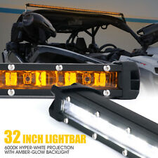 Xprite 32 inch Single Row LED Light Bar Amber Sunrise Series Backlight off road