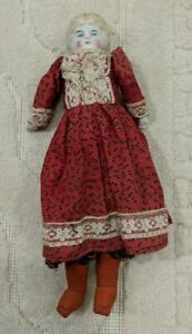 """ANTIQUE unmarked GERMAN CHINA HEAD EARLY DOLL 11"""" GERMANY 9 MARK Dollhouse"""