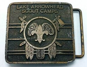 Vintage Solid Brass Belt Buckle - Lake Arrowhead Scout Camps - Hitline USA