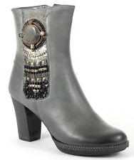 XYXYX Stiefelette 40 Nappa LEDER Grau Used Boots Plateau Heels Schuh Schmuck NEU