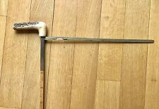 Vintage Late 19C Bamboo Walking Stick Cane Gadget Horse Measure Stag Antique