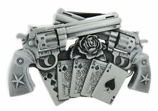 Guns Royal Flush Poker Cards Lighter Holder Metal Belt Buckle