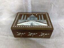 Beautiful Taj Mahal Trinket Box Inlaid Work Rosewood Jewelry Ornament Box New