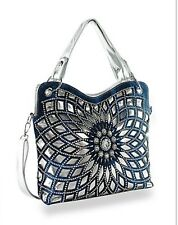 Womens Rhinestones Bling Design Layered Handbag(silver/Blue)