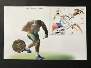 Portugal, 2000 Sydney Olympics FDC Stamps & Commemorative Coin KM #726 Set. Mint