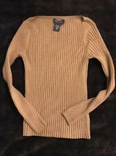 NEW YORK & COMPANY Brown Long Sleeve Scoop Neck Fitted Ribbed Sweater Size XS