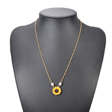 Lovely Women Pearl Sunflower Pendant Necklace Chain Collar Choker Jewelry Gift