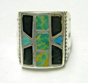 mens Sterling Silver ZUNI ONYX inlayed TURQUOISE Geometric Handmade vintage ring