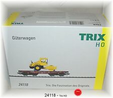 Trix 24118 Heavy Load Wagon rimmps 651 DB AG LOADED WITH ROLLER #