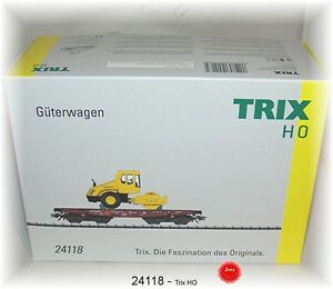 Trix 24118 Schwerlastwagen Rimmps 651 der DB AG beladen mit Walze #NEU in OVP#