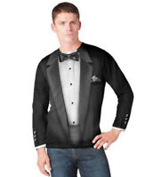Adult Men's Black Faux Costume Bow Tie Tuxedo Suit Long Sleeve T-shirt Tee