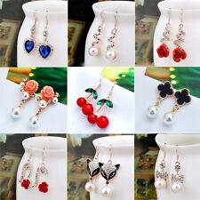 Women Pearl Crystal Rhinestone Flower Drop Dangle Earrings Fashion Jewelry Gifts