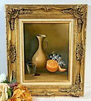 """""""Fruit and Vase"""" certified Original Oil Signed / Guilt Gold Gesso Leaf /Vintage"""