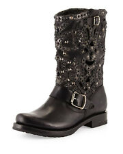 Frye Veronica Deco Studded Laser-Cut Leather Boot, Black Size 5.5  NEW