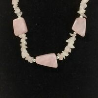 ROSE QUARTZ polished stone chip beaded necklace silver-tone beads chunky pink