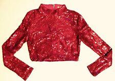 Women's Long Sleeve Pink Shimmer Sequins Stretch Back Zip Crop Top Sweat Shirt M