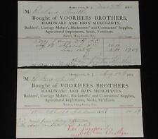 (2) Vintage Billheads / Receipts. 1881 & 1882 Voorhees Brothers. Morristown, NJ.