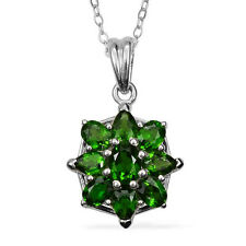 Russian Chrome Diopside (Ovl) (TGW 2.20 cts) . Sterling Silver  Chain (20 in) .