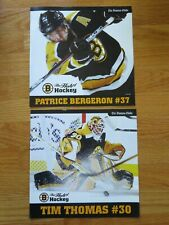 Hub of Hockey PATRICE BERGERON #37 & TIM THOMAS #30 Globe BOSTON BRUINS Insert
