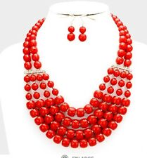 Red Plastic Long Bead Pearl Bib Necklace Pageant Multi Strand Layers Row Set