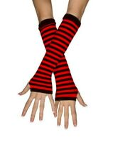 Striped Fingerless Thumb Gloves Arm Warmers Ladies Women Mittens Red and Black