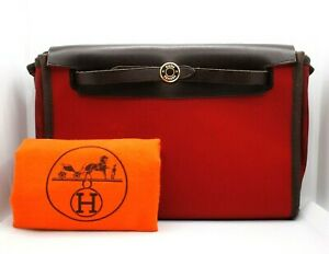 AUTHENTIC HERMES HERBAG MINI CLUTCH BAG PURSE RED ORANGE CANVAS LEATHER