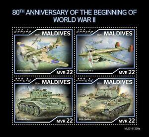 Maldives Military & War Stamps 2020 MNH WWII WW2 Beginning Tanks Aviation 4v M/S
