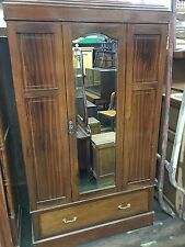 ANTIQUE INLAID MAHOGANY ENGLISH WARDROBE ARMOIRE WITH BEVELED MIRROR