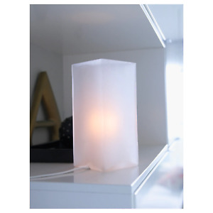 Cute Frosted Glass White Side Table Bedside Night Lamp Ikea Grono