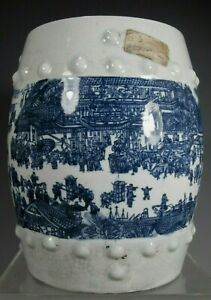China Chinese Porcelain Barrel Shape Lidded Jar Pot  w/ Figural Decor ca. 20th c