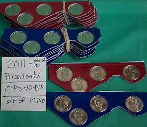 2011 P and D Presidential 8 Coins Lot of Ten Sets Uncirculated Eighty $1 Coins