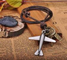 N214 Brown COOL Biker Plane Pendant Leather Cord Long Necklace Men's NEW