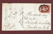 GB QV 1858 1d ROSE-RED SG40 C10 PLATE 37 JH FU ON COVER WHITCHURCH TO LONDON E8